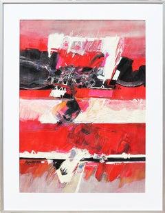 """Sedona"" Modern Abstract Red Toned Arizona Landscape Mixed Media Painting"
