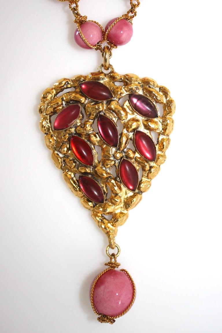 Carole Saint Germes Ceramic and Pate de Verre Heart Sautoir Necklace In New Condition For Sale In Virginia Beach, VA