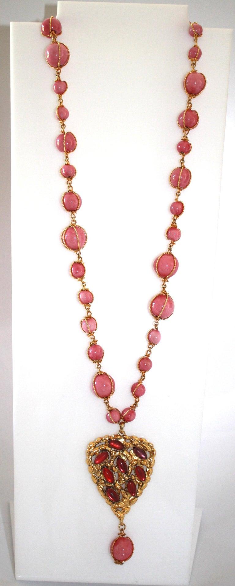 Women's Carole Saint Germes Ceramic and Pate de Verre Heart Sautoir Necklace For Sale