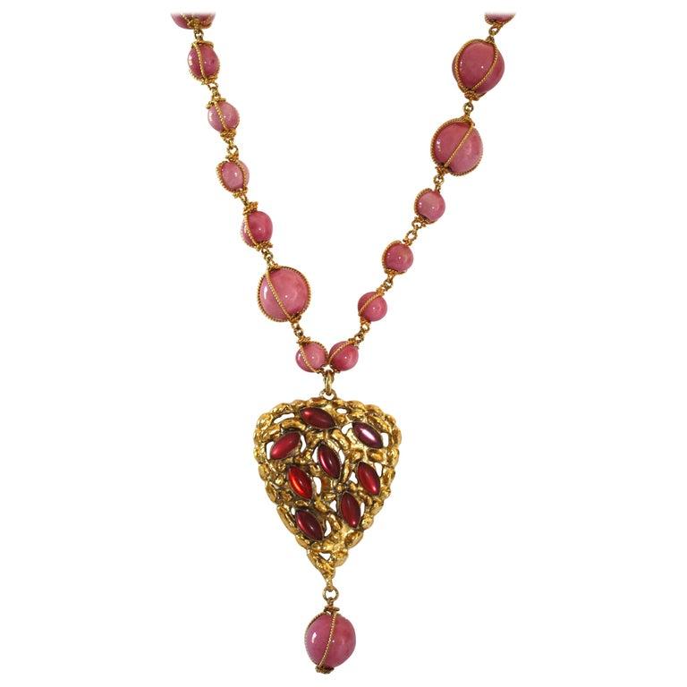 Carole Saint Germes Ceramic and Pate de Verre Heart Sautoir Necklace For Sale
