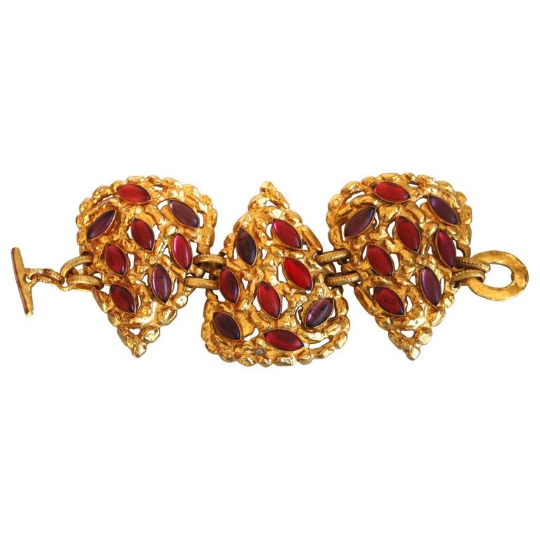 Carole St. Germes Triple Heart Couture Bracelet For Sale