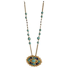 Carole St. Germes Turquoise Glass and Crystal Long Pendant Necklace