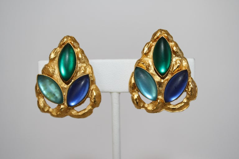 Green and blue vintage stone earrings on gold plated hammered clips from French designer Carole St. Germes.