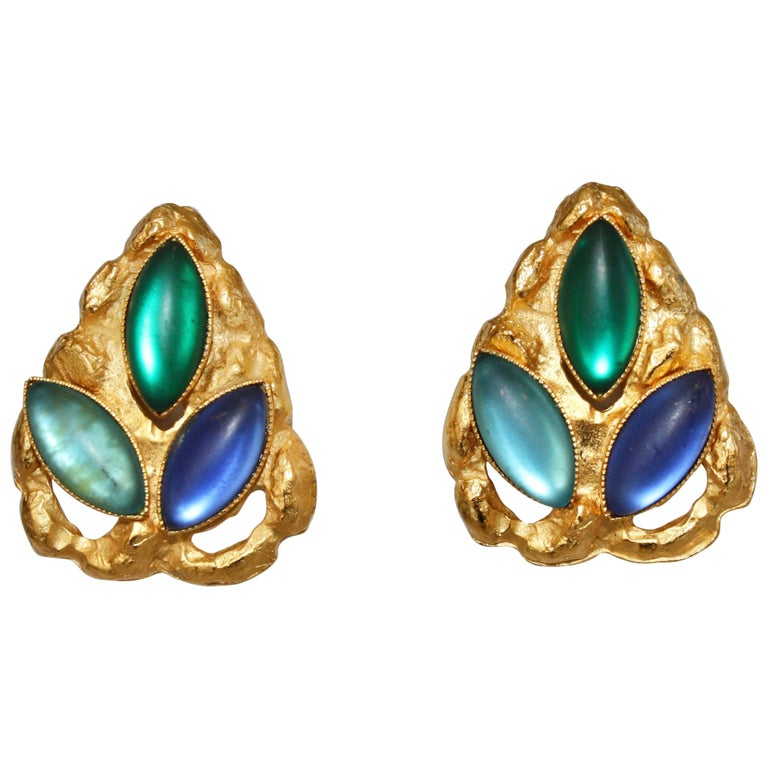 Carole St Germes Vintage Stone Clip Earrings For Sale