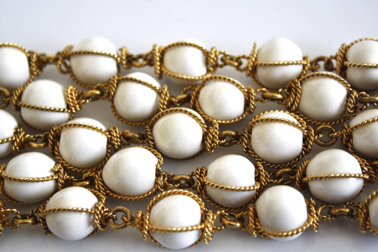 Carole St Germes White Ceramic and Gilded Torsade Bracelet In New Condition For Sale In Virginia Beach, VA