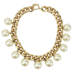 Carolee Faux Pearl Chain Choker Necklace, 1980's