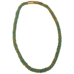 Carolina Bucci 18 Karat Gold and Turquoise Color Woven Necklace or Bracelet