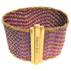 Carolina Bucci 18 Karat Purple Silk Woven Bracelet