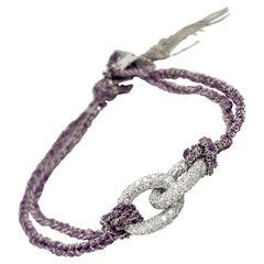 Carolina Bucci 18KT WG Diamond 2.71Ct. & Purple Silk Lucky Bracelet