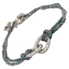 Carolina Bucci 18kt WG Diamond 2.71ct. & Silk Teal/Purple Lucky Bracelet