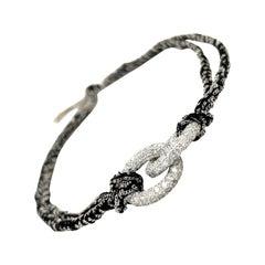 Carolina Bucci 18KT WG Diamond 2.71Cts & Black Silk Lucky Bracelet