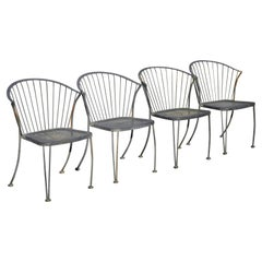 Carolina Forge Wrought Iron Barrel Back Midcentury Patio Dining Chair, Set of 4