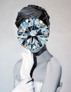 Diamond from the Mirror Stone series (Portrait Painting - Audrey Hepburn)