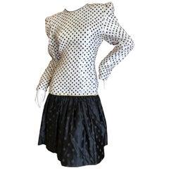 Carolina Herrera 1982 Sequin Black and White Polka Dot Cocktail Dress