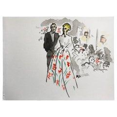 Carolina Herrera and Omar, 2017, Watercolor on Archival Paper