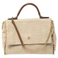 Carolina Herrera Beige Canvas Minuetto Flap Top Handle Bag
