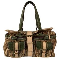 Carolina Herrera Beige Green Monogram Double Pockets Shoulder Bag