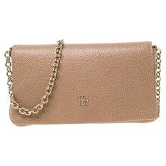 Carolina Herrera Beige Leather Flap Crossbody Bag
