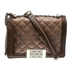 Carolina Herrera Beige Quilted Leather Tassel Shoulder Bag