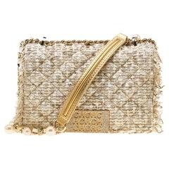 Carolina Herrera Beige/Silver Tweed & Fabric Faux Pearl Embellished Shoulder Bag