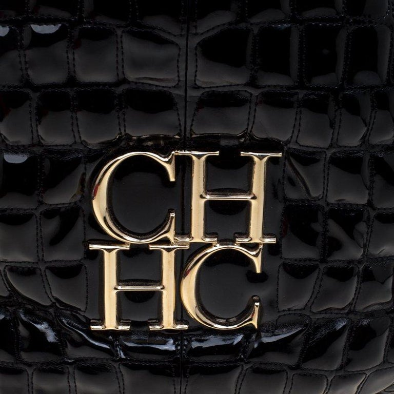Carolina Herrera Black Croc Embossed Patent Leather Tote For Sale 1