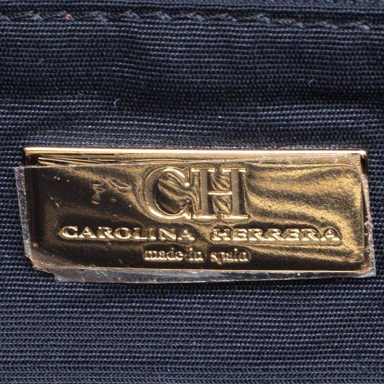 Carolina Herrera Black Croc Embossed Patent Leather Tote For Sale 4