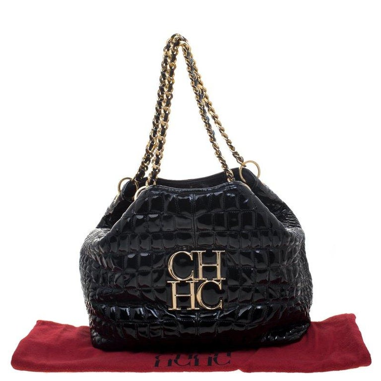 Carolina Herrera Black Croc Embossed Patent Leather Tote For Sale 5