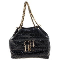 Carolina Herrera Black Croc Embossed Patent Leather Tote
