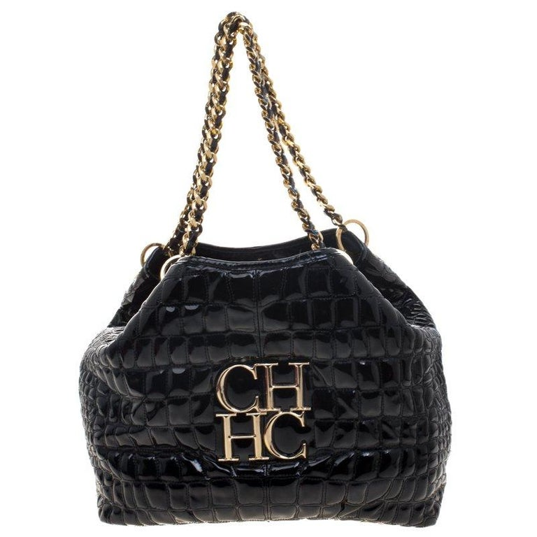 Carolina Herrera Black Croc Embossed Patent Leather Tote For Sale