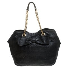 Carolina Herrera Black Embossed Leather Bow Bucket Shoulder Bag