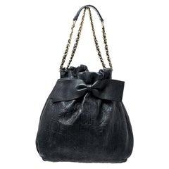 Carolina Herrera Black Embossed Leather Bow Bucket Shoulder Bag