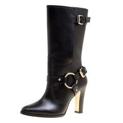 Carolina Herrera Black Leather Calf Length Boots Size 39