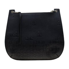 Carolina Herrera Black Leather Castanuela Messenger Bag