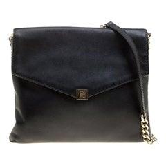Carolina Herrera Black Leather Envelope Shoulder Bag