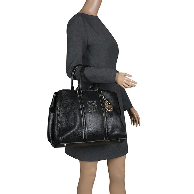 Carolina Herrera Black Leather Matteo Tote In Good Condition For Sale In Dubai, Al Qouz 2