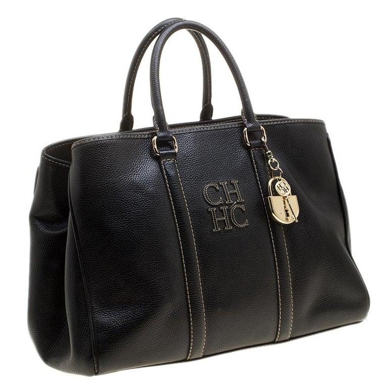 Women's Carolina Herrera Black Leather Matteo Tote For Sale