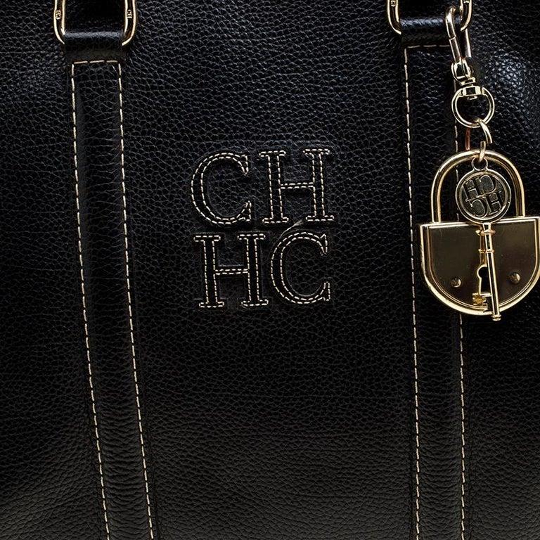 Carolina Herrera Black Leather Matteo Tote For Sale 1
