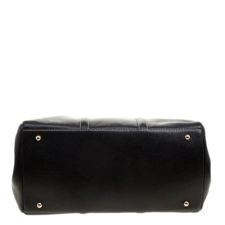 Carolina Herrera Black Leather Matteo Tote For Sale 2