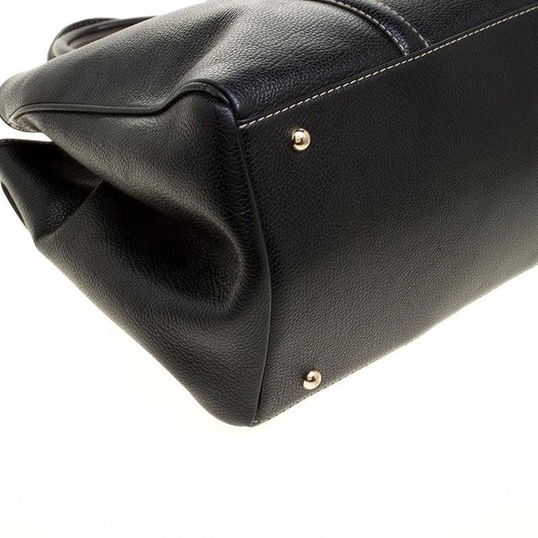 Carolina Herrera Black Leather Matteo Tote For Sale 5