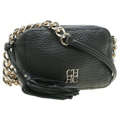 Carolina Herrera Black Leather Mini Tassel Crossbody Bag