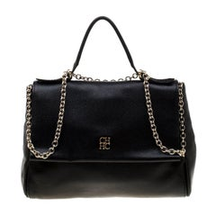 Carolina Herrera Black Leather Minuetto Flap Top Handle Bag