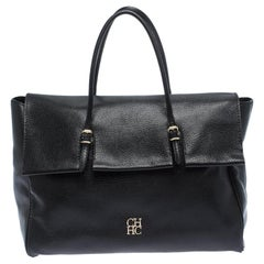 Carolina Herrera Black Leather Tempo Collection Adagio Tote