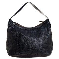 Carolina Herrera Black Monogram Embossed Leather Expandable Hobo