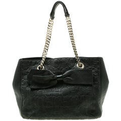Carolina Herrera Black Monogram Leather Audrey Tote