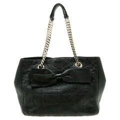 Carolina Herrera Black Monogram Leather Audrey Tote