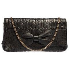 Carolina Herrera Black Monogram Leather Bow Chain Clutch