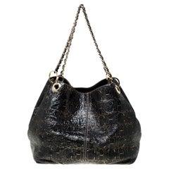 Carolina Herrera Black Monogram Leather Chain Shoulder Bag