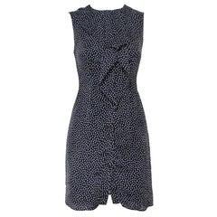 Carolina Herrera Black Printed Silk Ruffled Button Front Dress S
