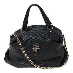 Carolina Herrera Black Quilted Leather Chain Satchel