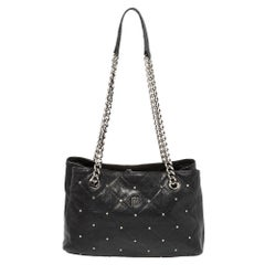 Carolina Herrera Black Quilted Leather Crystal Embellished Chain Tote